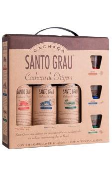 Kit Cachaça Santo Grau 3 garrafas de 375ml
